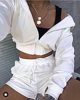 Жіночий літній костюм Шорти і Укорочений худі на блискавці з двуніткі, фото 1