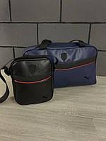Комплект сумка Puma синяя + барсетка Puma черная, фото 1