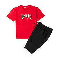 Комплект футболка красная DNK MAFIA + шорты черные, фото 1
