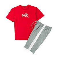 Комплект футболка красная DNK MAFIA + шорты серые с белым лампасом