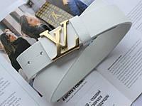 Кожаный ремень Louis Vuitton пряжка золото белый, фото 1