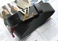 Кожаный ремень Louis Vuitton пряжка золото черный, фото 1
