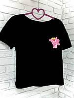 Футболка черная принт Pink Panther, фото 1