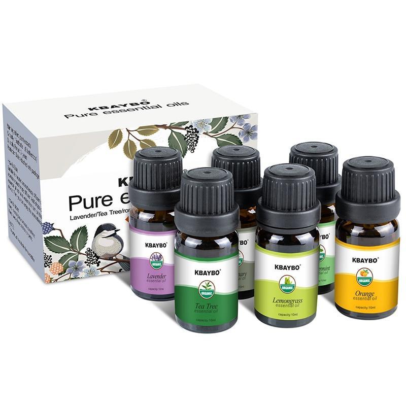 KBAYBO ефірні олії для ароматерапії, аромат лаванди, чайного дерева, розмарину, лимонника, апельсина, м'ята