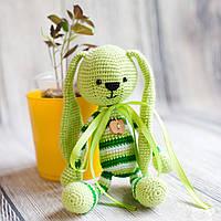 """Вязаная игрушка """"Зеленый Зайчик - длинные ушки"""", фото 1"""