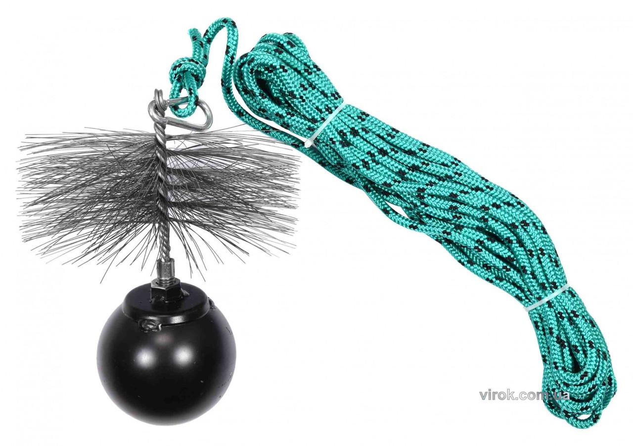 Набір для очищення димарів VOREL : шнур Ø= 6 мм, l= 10 м, йорж Ø= 175 мм, гиря- 1.8 кг