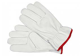 Перчатки рабочие белые с красной кромкой YATO хлопок + кожа размер 10