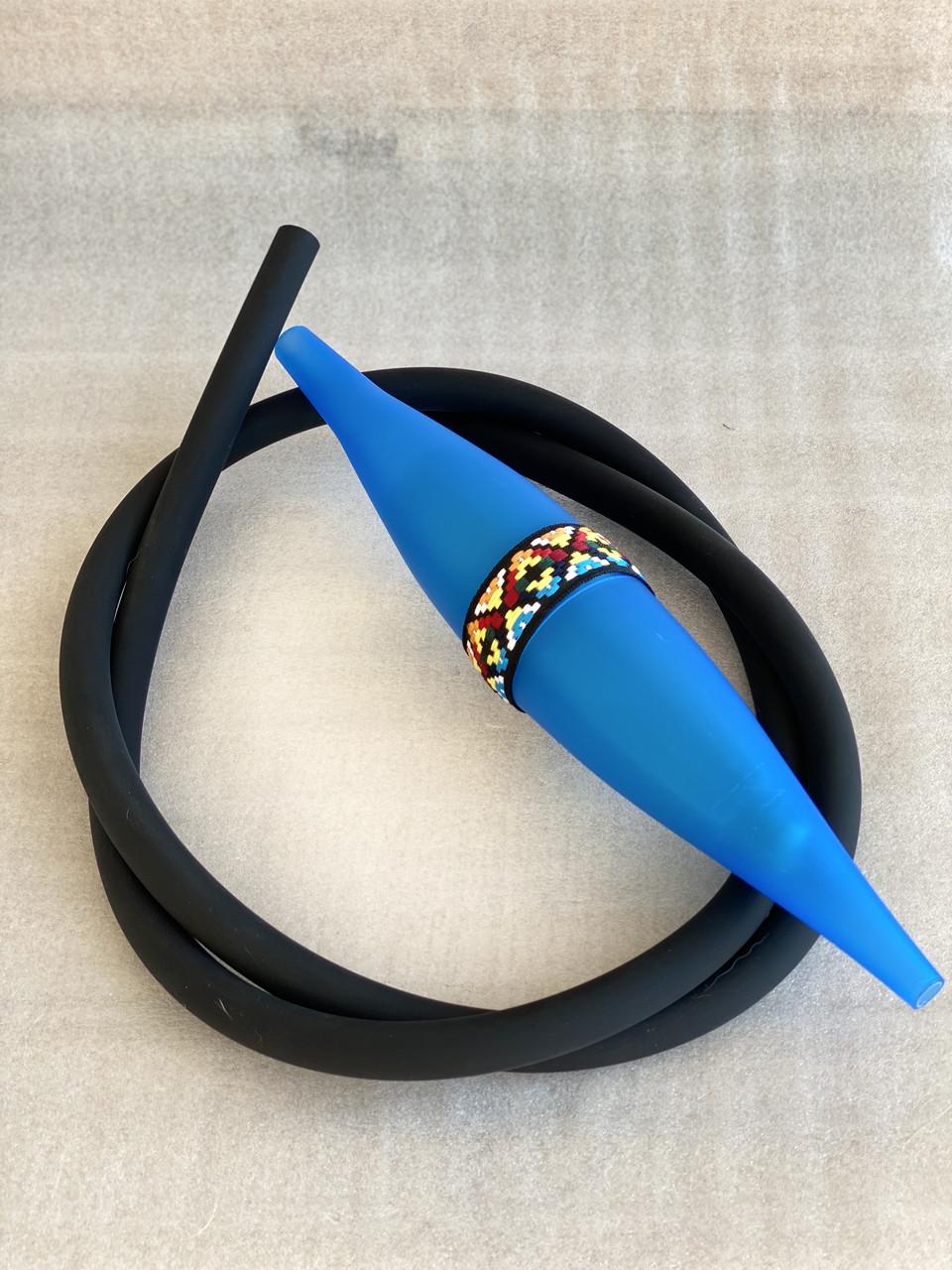 Комплект шланг софт тач + базука супергель | Комплект для кальяна летний синий