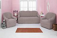 МНОГО РАСЦВЕТОК! Набор чехлов на диван и 2 кресла без оборки и рюшей, хлопок крэш Турция кофе с молоком, какао