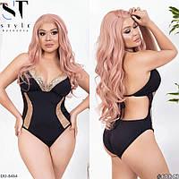 Модный женский сдельный купальник с эффектом зрительной коррекции с 48 по 58 размер