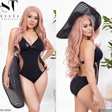 Модный женский сдельный купальник с эффектом зрительной коррекции с 48 по 58 размер, фото 2