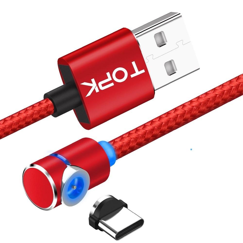 Магнітний кабель TOPK 2 метри ПОВОРОТ 90° USB 2.0 для зарядки AM51 Type C (ЧЕРВОНИЙ)