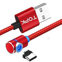 Магнітний кабель TOPK 2 метри ПОВОРОТ 90° USB 2.0 для зарядки AM51 Type C (ЧЕРВОНИЙ), фото 1