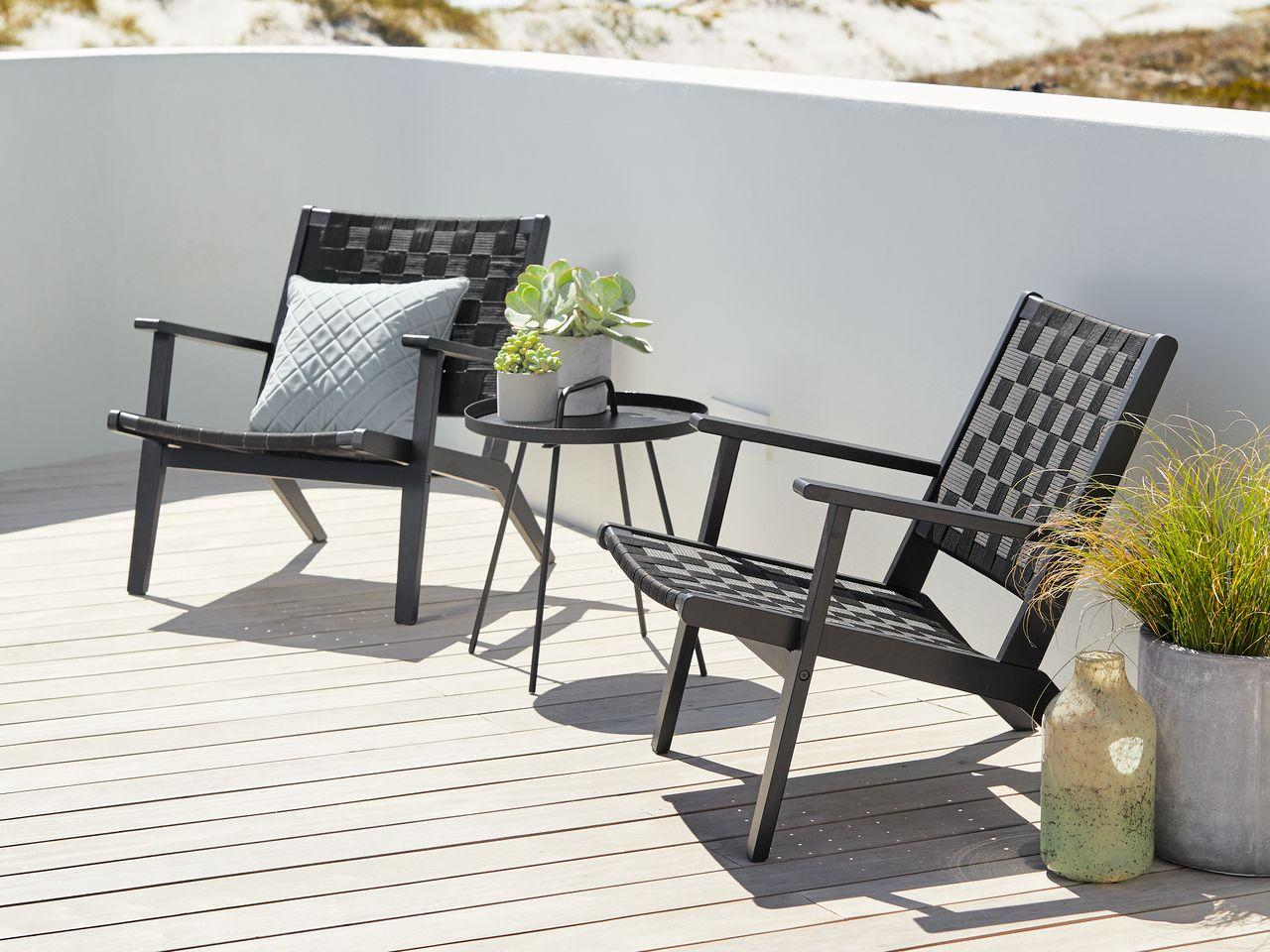 Комплект мебели стальной стол 45 см диаметр и 2 стула из лакированного Хардвуда