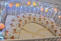 Подушка для беременних , подушка для вагітних ,подушка для кормления 3 в 1 двостороння в бежевих тонах 1647