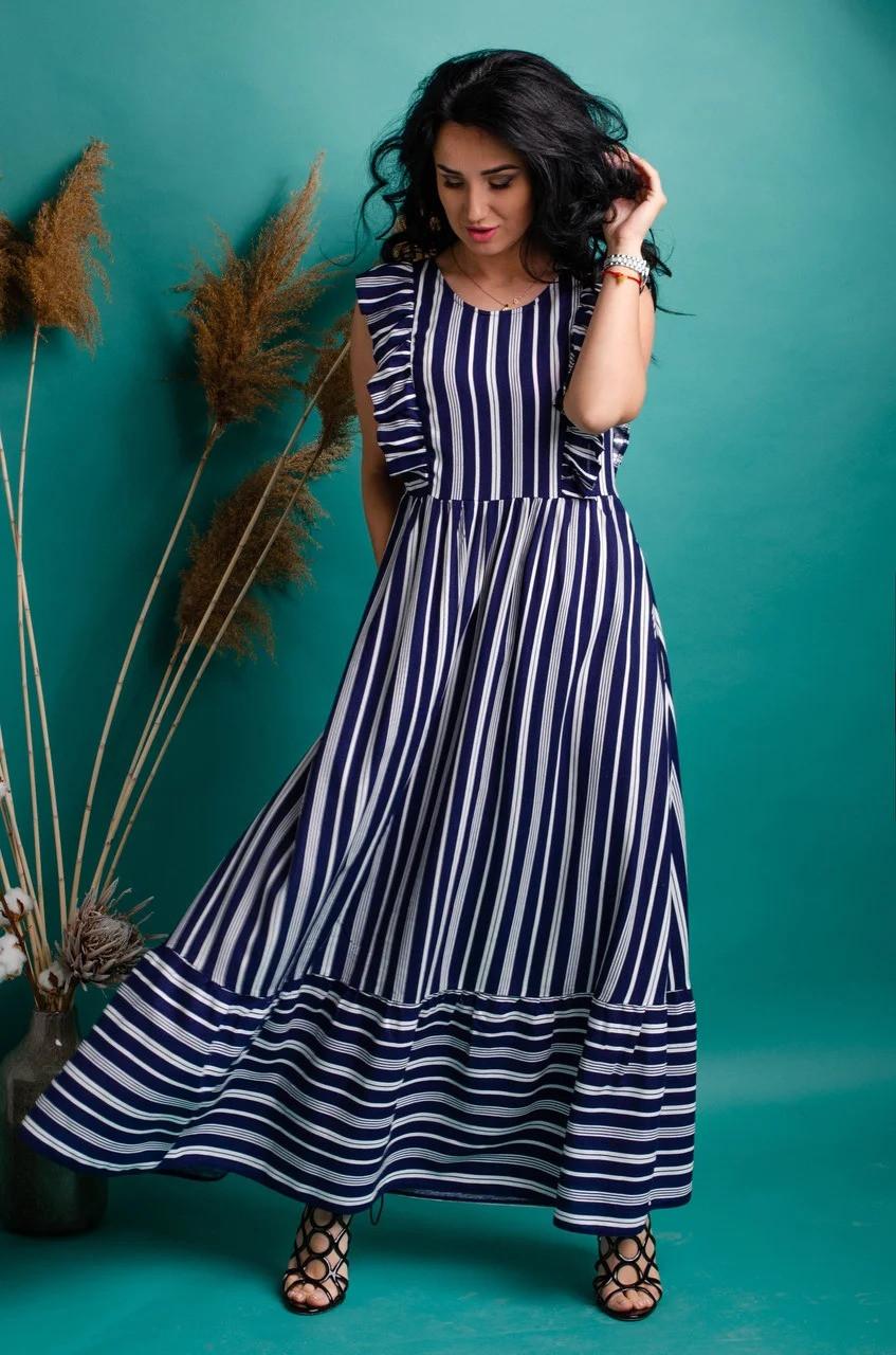 Очаровательное летнее женское платье в полоску 42-50рр.