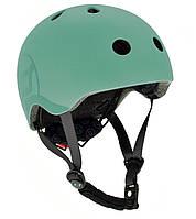 Шлем защитный детский Scoot and Ride, серо-зеленый, с фонариком, 45-51см XXS/XS (SR-181206-FOREST)