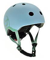 Шлем защитный детский Scoot and Ride, серо-синий, с фонариком, 45-51см XXS/XS (SR-181206-STEEL)