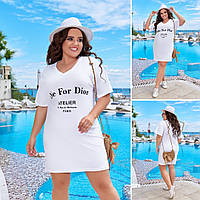 Женское лёгкое летнее платье-туника 42-44,46-48,50-52,54-56, повседневное женское платье трикотаж хлопок