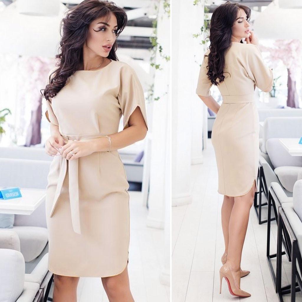 Бежевое классическое платье с поясом (Код MF-209) О В