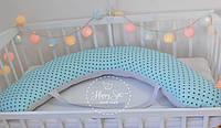 Подушка для беременних , подушка для вагітних ,подушка для кормления 3 в 1 в бірюзових тонах 1399