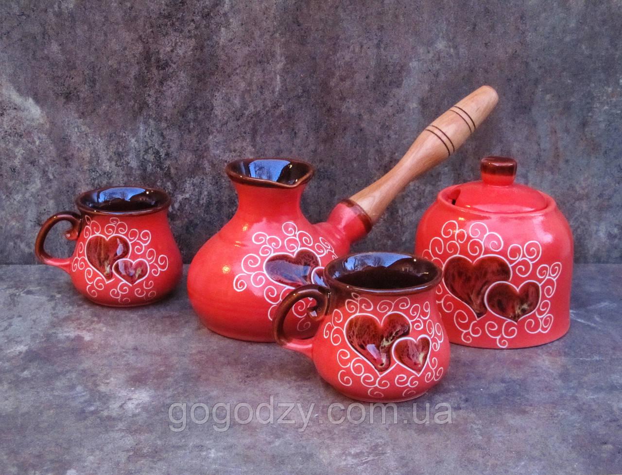 Набір кавовий Малий на 2 особи декор Серце червоний