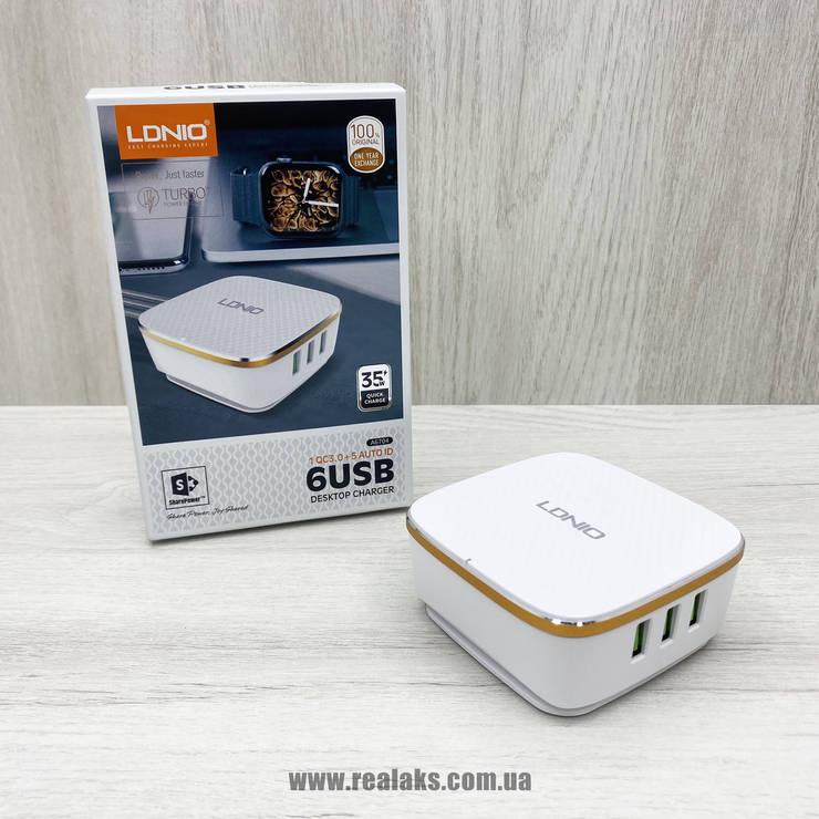 Мережевий мультизарядний пристрій LDNIO A6704 6USB (білий), фото 2