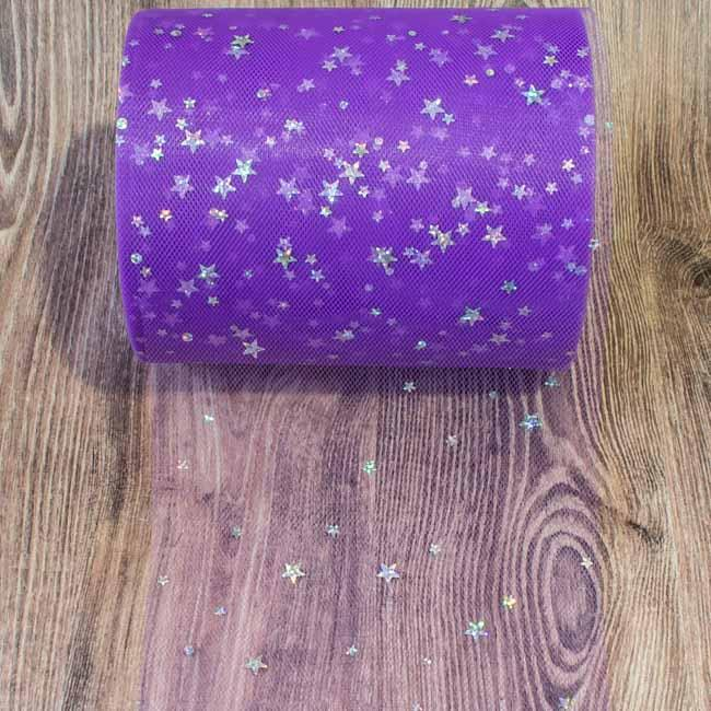 Фатин Звездочки фиолетовый за 3м.