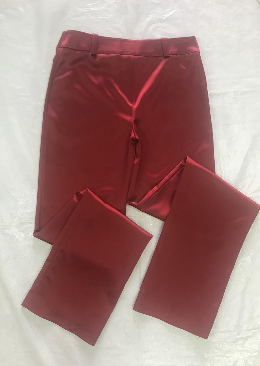 Брюки женские стрейч сатин красные