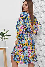Платье летнее разноцветное длинное с цветами, с длинным рукавом. Размеры с 42 по 52. Платье летнее штапель, фото 2