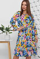 Платье летнее разноцветное длинное с цветами, с длинным рукавом. Размеры с 42 по 52. Платье летнее штапель