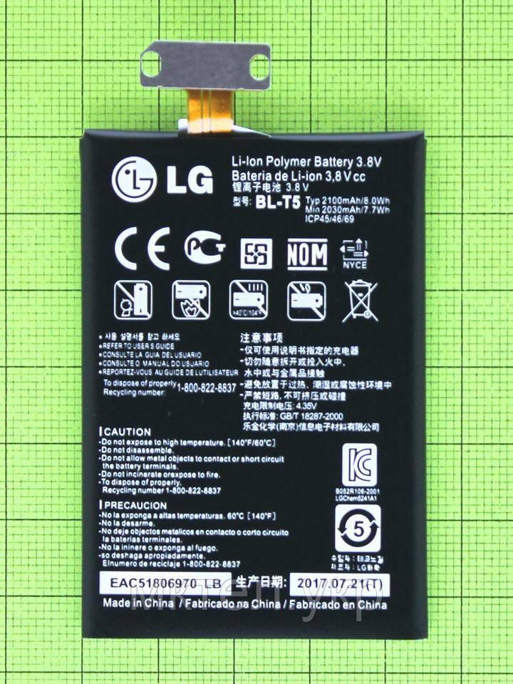 Аккумулятор BL-T5 LG Nexus 4 E960 2100mAh, orig-china (низкая емкость)
