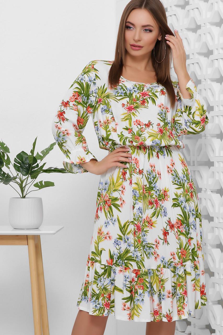 Платье летнее белое длинное с цветами, с длинным рукавом. Размеры с 42 по 52. Платье летнее состав штапель