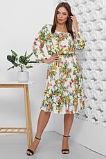 Платье летнее белое длинное с цветами, с длинным рукавом. Размеры с 42 по 52. Платье летнее состав штапель, фото 2