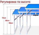 Стол для пикника усиленный с 4 стульями Folding Table, стол туристический складной, 120х60х55 см (синий), фото 10