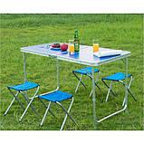 Стол для пикника усиленный с 4 стульями Folding Table, стол туристический складной, 120х60х55 см (синий), фото 2