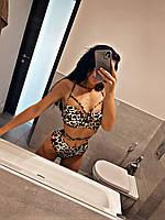 Женский леопардовый купальник раздельный
