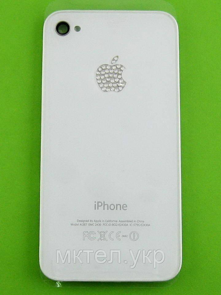 Крышка батареи iPhone 4G с белыми камнями, белый copy