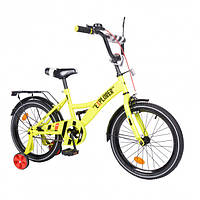"""Двухколесный велосипед для детей EXPLORER, 18"""" T-218112, с багажником и тренировочными колесами, желтый"""
