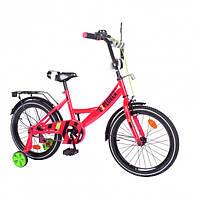 """Двухколесный велосипед для ребенка EXPLORER, 18"""" T-218111, с приставными колесами, звоноком, малиновый"""