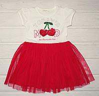 Платье летнее для девочки красное с фатином Размеры 98 110 116, фото 1