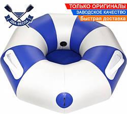 Тюбинг плюшка надувные санки ватрушка 90х30 см до 120 кг из лодочного ПВХ 850 для зимы и лета, серо-синий