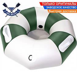 Тюбинг плюшка надувные санки ватрушка 90х30 см до 120 кг из лодочного ПВХ 850, для зимы и лета, серо-зеленый