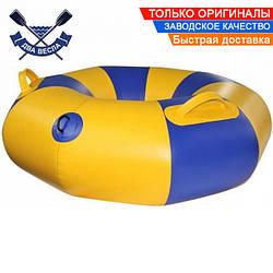 Тюбинг плюшка надувные санки ватрушка 90х30 см до 120 кг из лодочного ПВХ 850, для зимы и лета, желто-синий