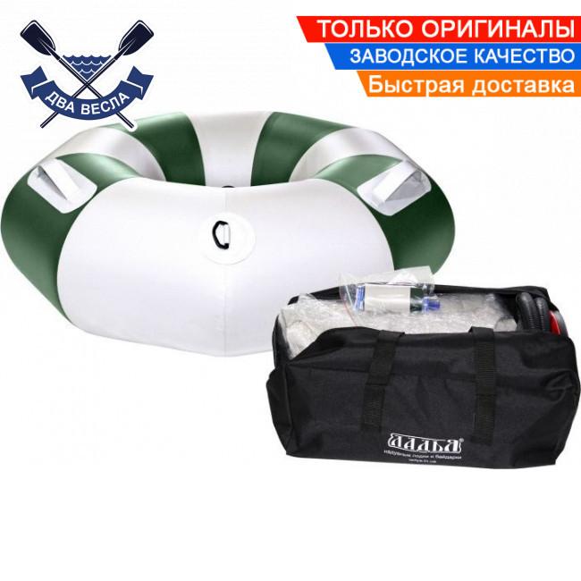 Тюбинг плюшка надувные санки ватрушка 90х30 см до 120 кг из ПВХ 850 для зимы и лета, серо-зеленый, в комплекте