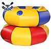 Тюбинг плюшка надувные санки ватрушка 90х30 см до 120 кг из ПВХ 850 для зимы и лета, серо-зеленый, в комплекте, фото 6