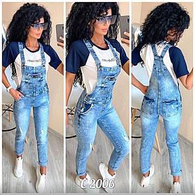 Комбинезон женский джинсовый, Модный джинсовый комбинезон.