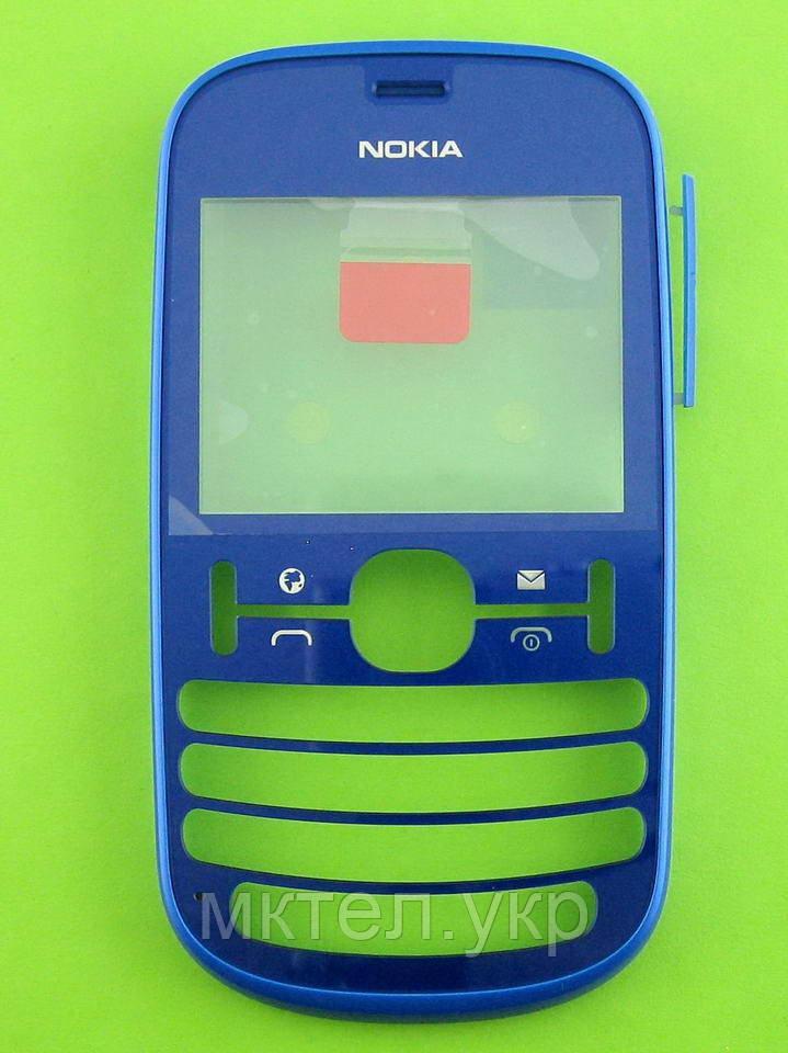 Передняя панель Nokia Asha 201, синий Оригинал #0259322