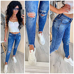 Джинсы МОМ потертые, Рваные женские джинсы мом, Джинсы женские МОМ рваные синего цвета.