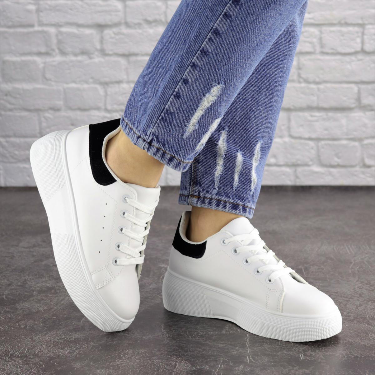 Купить Женские кроссовки белые с черной пяткой Brady 1656, Fashion